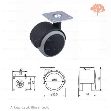 Fekete/szürke színű ø50mm-es talpas bútorgörgő