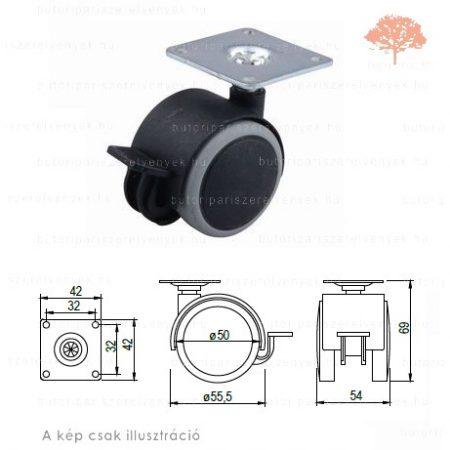 Fekete/szürke színű ø50mm-es talpas FÉKEZHETŐ bútorgörgő