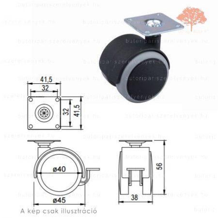 Fekete /szürke színű ø40mm-es talpas bútorgörgő