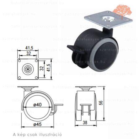 Fekete /szürke színű ø40mm-es talpas FÉKEZHETŐ bútorgörgő