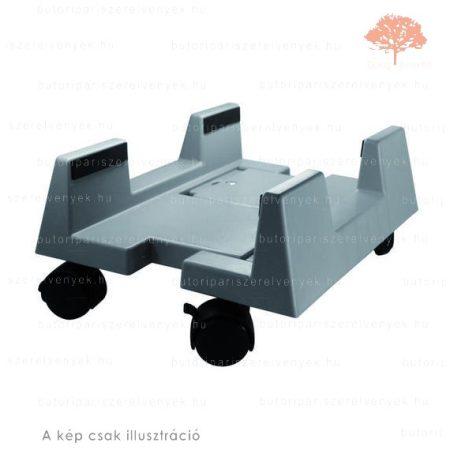 Ezüst színű GÖRGŐS műanyag ÁLLÍTHATÓ alapgéptartó kocsi