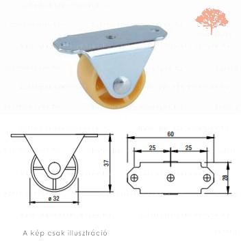 Vaj színű ø32mm-es FIX bútorgörgő