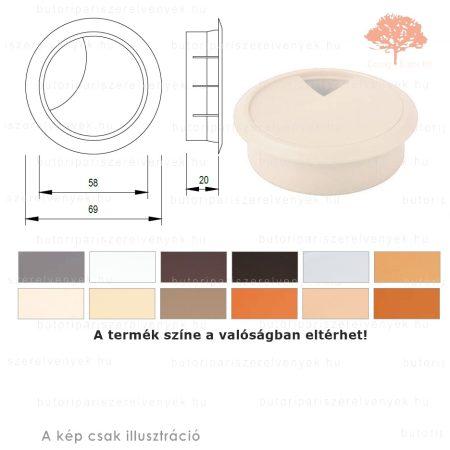 Juhar színű KEREK ø60mm-es zárható műanyag kábelkivezető