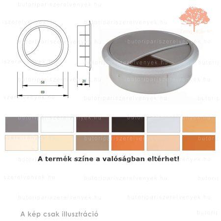 Ezüst színű KEREK ø60mm-es zárható műanyag kábelkivezető
