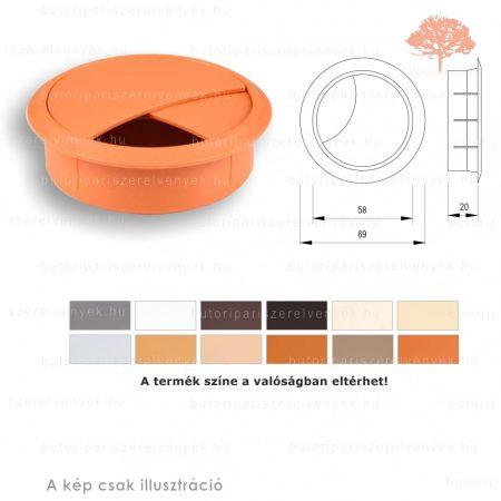 Éger színű KEREK ø60mm-es zárható műanyag kábelkivezető