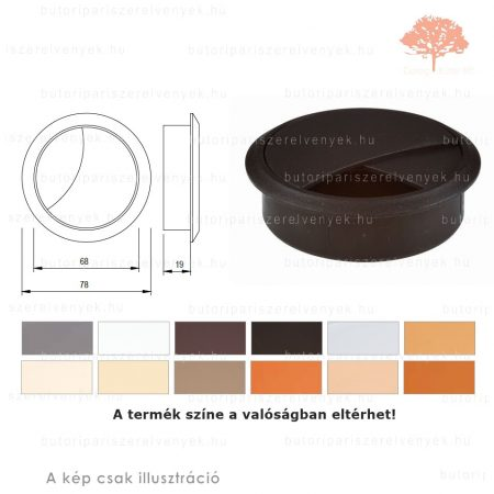 Fekete színű KEREK ø70mm-es zárható műanyag kábelkivezető