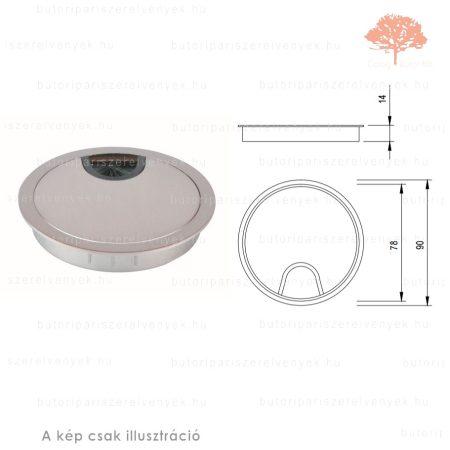 Eloxált alumínium színű KEREK ø80mm-es fém kábelkivezető