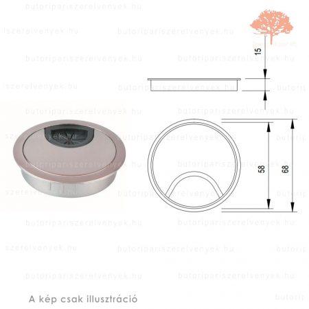 Eloxált alumínium színű KEREK ø60mm-es fém kábelkivezető