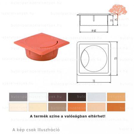 Bükk színű NÉGYSZÖGLETŰ ø60mm-es zárható műanyag kábelkivezető