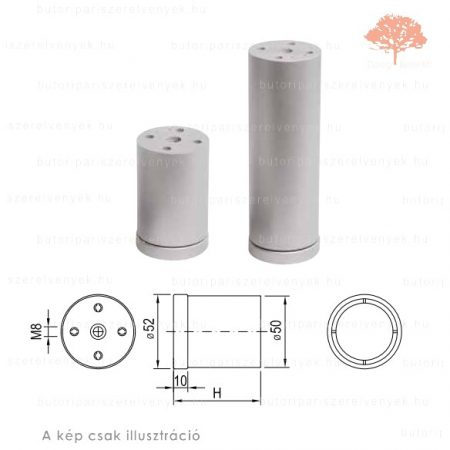 Henger alakú szürke színű ø50mm / 150mm-es edzett műanyag bútorláb
