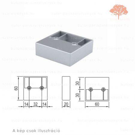 Négyszögletes szürke színű 60x60mm / 20mm-es edzett műanyag bútorláb