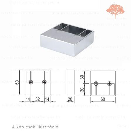 Négyszögletes fényes króm színű 60x60mm / 20mm-es edzett műanyag bútorláb