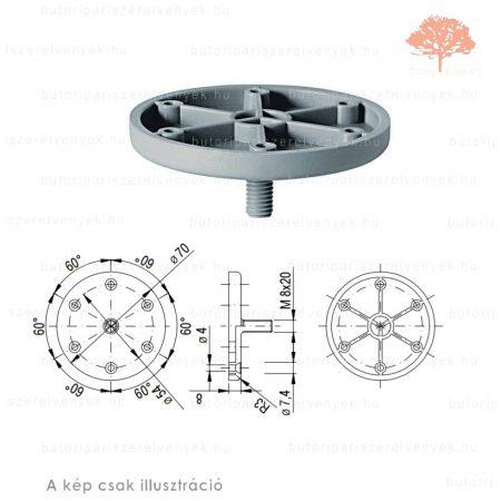 RÖZGÍTŐ ELEM henger alakú szürke színű ø50mm-es edzett műanyag bútorlábhoz