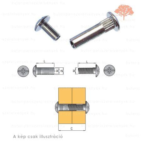 ø6mm-es 30-40mm-ig állítható bútorösszehúzó csavarpár