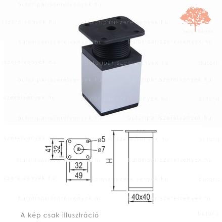 Négyszögletes Al profilú fényes króm+fekete színű 40x40mm / 150mm-es bútorláb