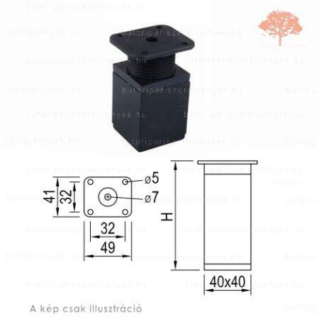Négyszögletes Al profilú matt fekete+fekete színű 40x40mm / 100mm-es bútorláb