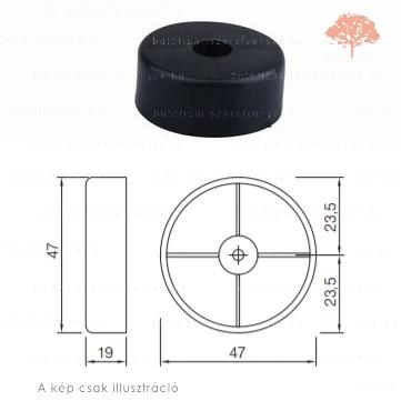 Fekete színű ø47mm-es csavarozható csúszótalp