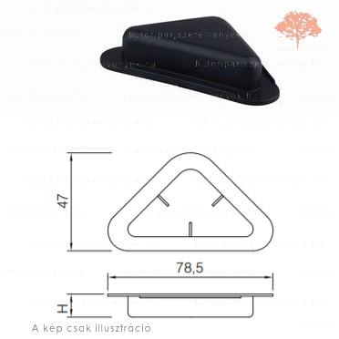 Fekete színű 78x47mm-es sarokra tűzhető csúszótalp