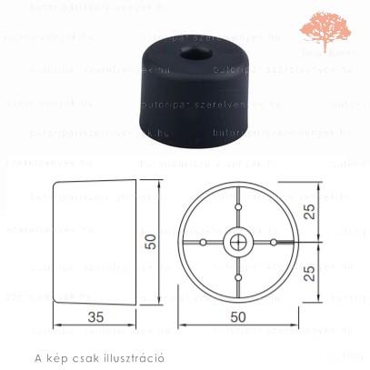 Fekete színű ø50mm-es csavarozható csúszótalp
