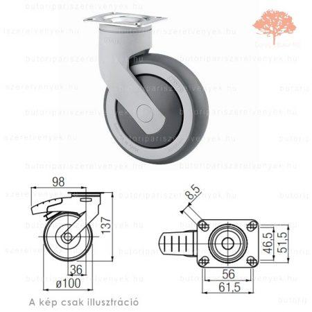Szürke színű ø100mm-es talpas bútorgörgő