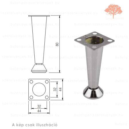 Fém kúpos fényes króm színű 80mm-es bútorláb