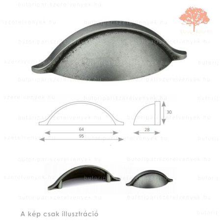 CO64 matt fekete acél színű fogantyú