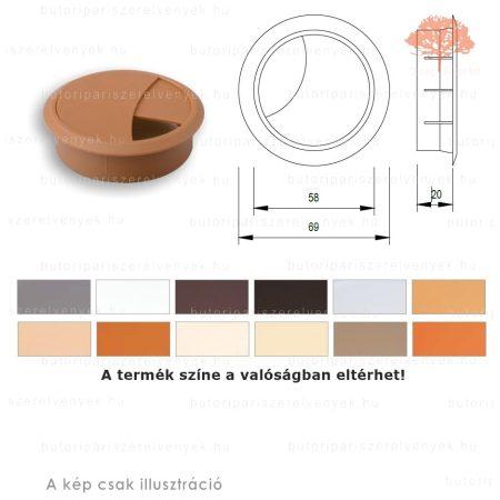 Calvados színű KEREK ø60mm-es zárható műanyag kábelkivezető