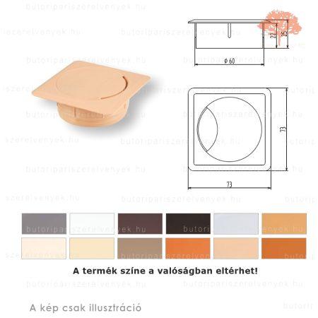 Világos bükk színű NÉGYSZÖGLETŰ ø60mm-es zárható műanyag kábelkivezető