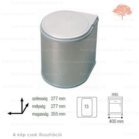 Nemesacél színű korpuszra szerelhető AUTOMATIKUS 13L-es  műanyag konyhai szemetes