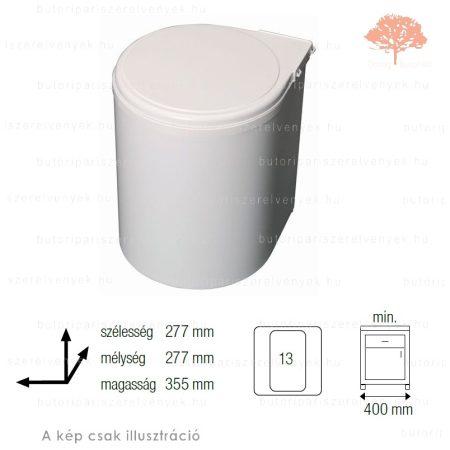Fehér színű korpuszra szerelhető AUTOMATIKUS 13L-es műanyag konyhai szemetes