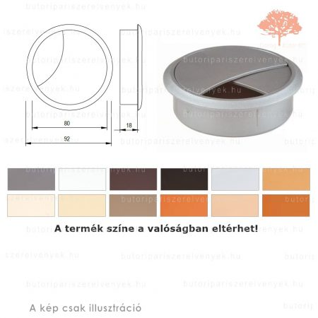 Ezüst színű KEREK ø80mm-es zárható műanyag kábelkivezető
