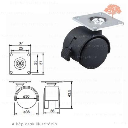 Fekete színű ø30mm-es talpas FÉKEZHETŐ bútorgörgő