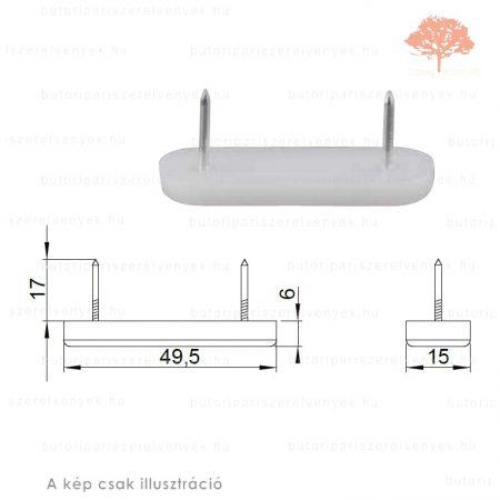 Fehér színű 15x49mm-es szögelhető csúszótalp