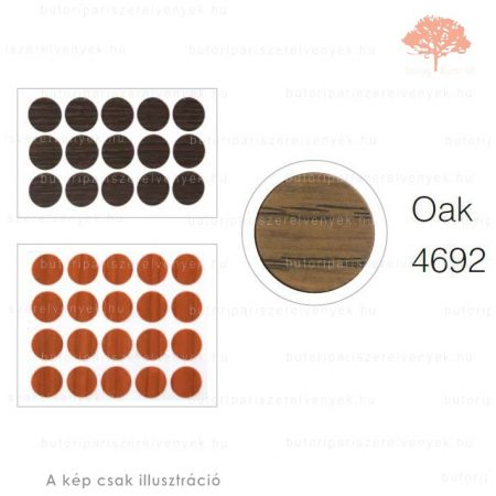 ø13mm-es PÁCOLT TÖLGY színű 20db öntapadós takarósapka