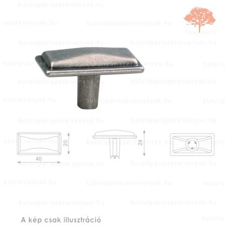 SI oxidált acél színű gomb