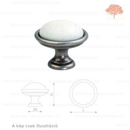 LE matt porcelán/ ónikkel színű gomb