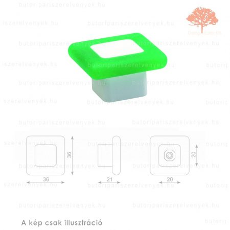 MQ zöld lágyított műanyag gomb