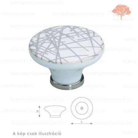 BO fényes króm/motívumos porcelán színű gomb