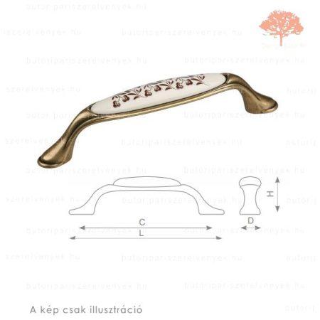 MA128 ósárgaréz/motívumos porcelán színű fogantyú