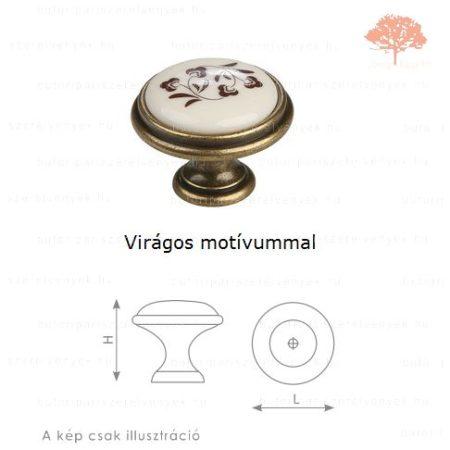 MA ósárgaréz/motívumos porcelán színű gomb