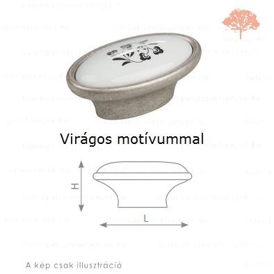 MT óezüst/motívumos porcelán színű gomb