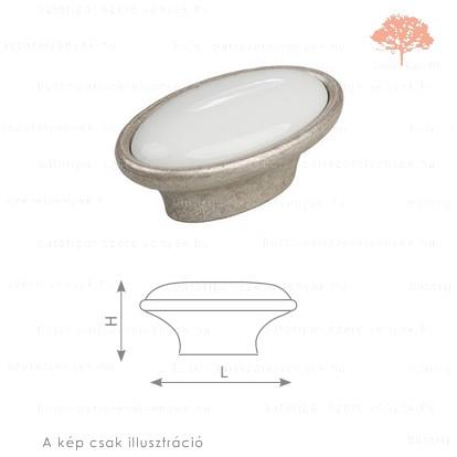 MT óezüst/fehér porcelán színű gomb