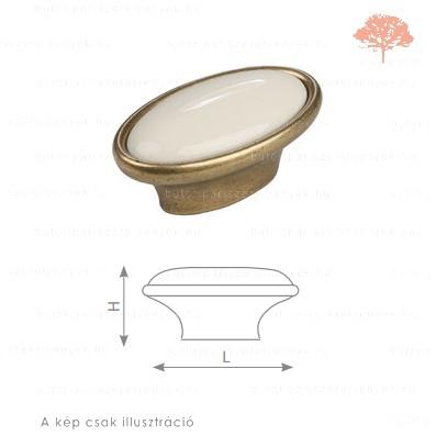 MT ósárgaréz/drapp porcelán színű gomb