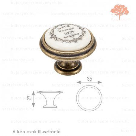 VI ósárgaréz/bézs porcelán színű gomb