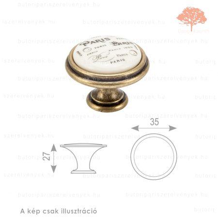 PA ósárgaréz/bézs porcelán színű gomb
