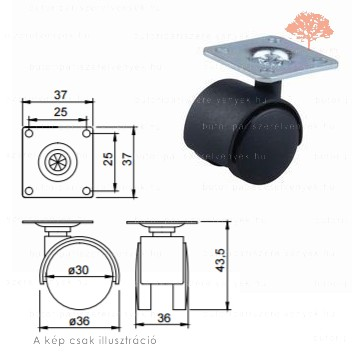 Fekete színű ø30mm-es talpas bútorgörgő