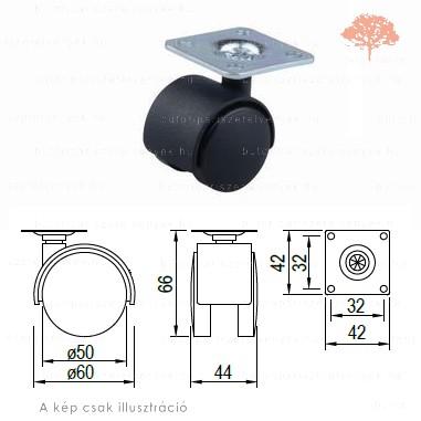 Fekete színű ø50mm-es talpas bútorgörgő