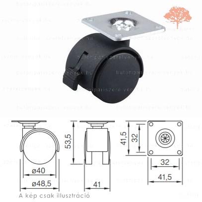 Fekete színű ø40mm-es talpas FÉKEZHETŐ bútorgörgő