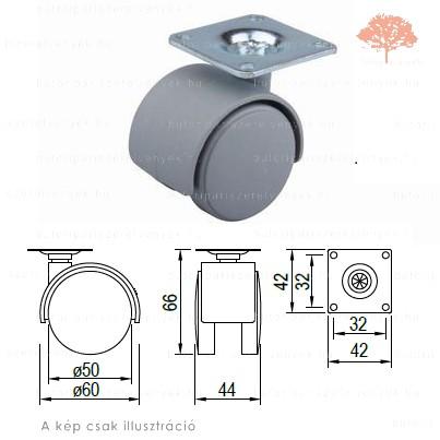 Szürke színű ø50mm-es talpas bútorgörgő