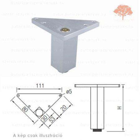 Fém sarok eloxált alumínium színű 75mm-es bútorláb